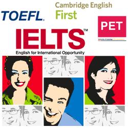 grafica che rappresenta i loghi delle principali certificazioni internazionali e i visi pop up caratteristici della comunicazione del brand International English Centre